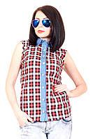 Рубашка женская Клетка 400-1, рубашка в клетку джинсовая, женская летняя рубашка, дропшиппинг поставщик