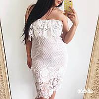 Кружевное летнее платье без бретелей