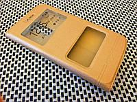 Кожаный чехол книжка Momax для LG K10 K410 золотистый