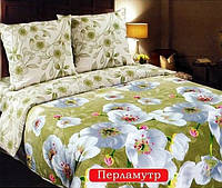 Полуторный комплект постельного белья, поплин Перламутр (хлопок 100%)