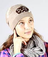 Бежевая женская зимняя шапка