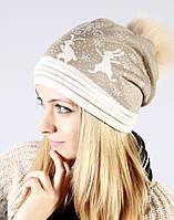 Молодежная шапочка кремового цвета