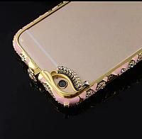 Oригинальный бампер метал, камни Swarovski с узорами на защелке для Iphone 6/6S