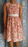 Детское летнее платье без подкладки с пояском