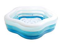 Надувной бассейн для семейного отдыха с широкими бортами и рифленым дном Intex Интекс 185х180х53 см