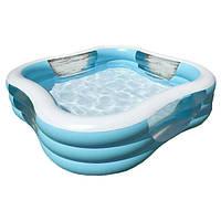 Надувной бассейн для семейного отдыха с широкими бортами Intex Интекс 229х229х56 см