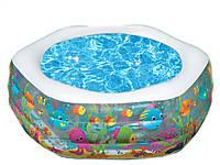Надувной бассейн для семейного отдыха с широкими бортами из прочного винила, надувное дно Intex 191x178x61 см