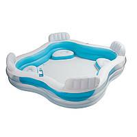 Надувной бассейн для семейного отдыха изогнутой формы с комфортными спинками и сиденьями Intex 229х229х46 см