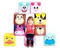 """Детский пуф 3 в 1 (корзина, ящик для игрушек) """"Зоопарк"""" 40*40*40 см"""