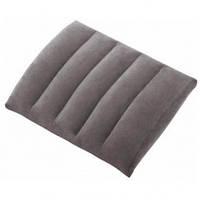 Надувная флокированая туристическая подушка Intex серый цвет 43 - 33 - 10см