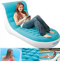 Надувное велюровое кресло-шезлонг Splash Lounge Intex Интекс 170-84-81 см