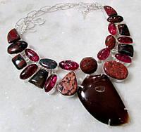 Колье из натуральных камней - АГАТ, ЯШМА, ГЕЛИОТРОП, КВАРЦ,ОБСИДИАН