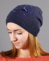 Вязаная шапка на флисе синего цвета