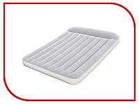 Надувная кровать двуспальная с подголовником серая 191х137х30 см встроенный насос