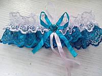 Свадебная подвязка бирюзовая (21)