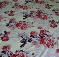 Микрофибровая простынь, покрывало Elway Розы на розовом