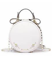 Женский кожаный клатч Clock молочный
