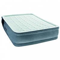 Надувная кровать одноместная  велюровая с встроенным электрическим насосом 191х97х43 см