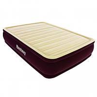 Надувная кровать двухспальная с встроенным насосом на 220V 203х152х43 см винил, флок