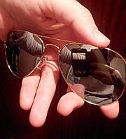 Очки Ray Ban Aviator Mirror Gold. Стекло 3025-3026 Комплект.