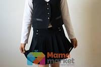 Школьная юбка из костюмной ткани Baby Angel 682, цвет черный р.152