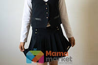 Школьная юбка из костюмной ткани Baby Angel 682, цвет черный р.140