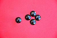 Камни пришивные круглые с гранями, цвет черный, 1,2 см, 5 шт.