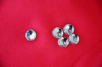 Камни пришивные круглые с гранями ,акрил, цвет белый, 1,2 см, 5 шт.