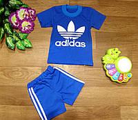 Костюм летний спортивный Adidas футболка синяя шорты синие