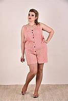 Женский легкий комбинезон на лето 0290-2 цвет персик размер 42-74