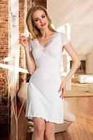 Женская ночная рубашка цвета экри с кружевом, короткий рукав. Модель Leonia Eldar.