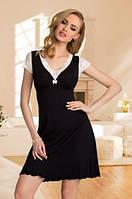 Женская ночная рубашка черного цвета с нежным кружевом цвета экри, короткий рукав. Модель Leonia Eldar.