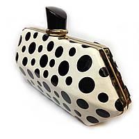 Женская сумка клатч вечерний 77 модный клубный белый в черный горошек
