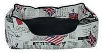 Лежак для кота Trixie Bandera 55*45 кремовый/черный с флагами (37493)
