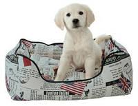 Лежак для маленькой собаки Trixie Bandera 55*45 кремовый/черный с флагами (37493)
