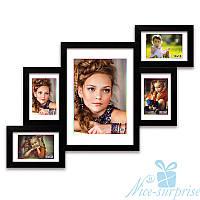 Фоторамка из дерева Лесенка на 5 фотографий, обычное стекло (чёрный)