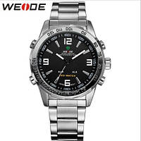 Кварцевые мужские наручные часы Weide Led Steel с подсветкой