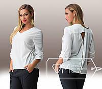 Модная шифоновая белая блуза батал с молнией на спине.  Арт-8002/81