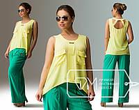 Желтая леняя блузка больших размеров .  Арт-8007/81