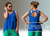 Синяя леняя блузка больших размеров .  Арт-8007/81