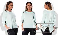 Бирюзовая шифоновая блузка-фрак больших размеров .  Арт-8008/81