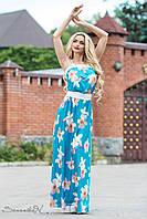 Женское летнее платье макси с цветами