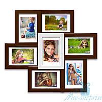 Фоторамка из дерева Камелия на 7 фотографий 10х15, обычное стекло (коричневый с белым)