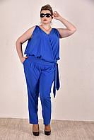 Женский легкий костюм на лето 0268-1 цвет электрик размер 42-74