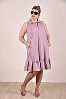 Женское платье на лето бенгалин большие размеры  0297-3 цвет сиреневый до 74 размера