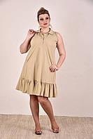 Женское платье на лето бенгалин большие размеры  0297-3 цвет желтый до 74 размера