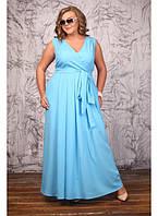 Женское платье на лето большие размеры Бовари цвет голубой размер 48-72