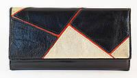 Удобный кожаный черный женский кошелек MSM art. 2212