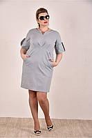 Женское джинсовое платье  на лето 0285-2 цвет серый до 74 размера