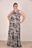Женское шифоновое платье цвет зеленый 0284-3 до 74 размера